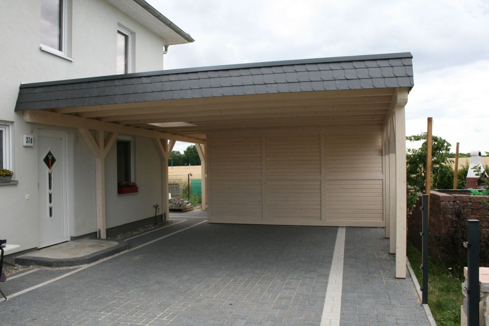 carport flachdach mit schuppen holzmarkt k hn klosterfelde. Black Bedroom Furniture Sets. Home Design Ideas